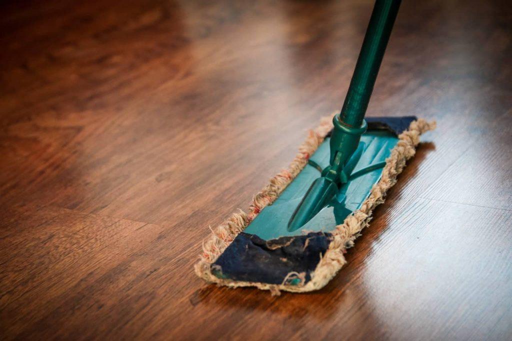 mopping hard wood floors