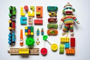 Kids' toys laid out for a birds-eye picture