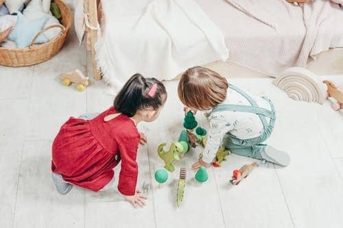 Two children, a boy and a girl, playing with toys on the floor
