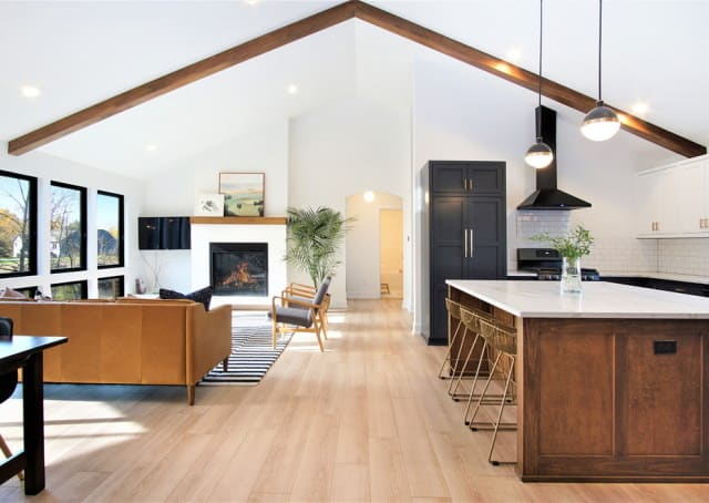 Modern open plan kitchen living space in Melbourne