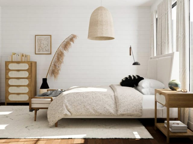 Scandinavian styled bedroom with large oversized fern in Melbourne