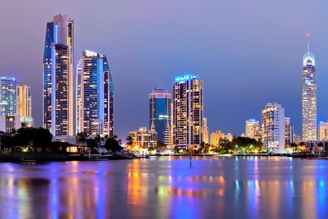 Gold Coast city skyline at night